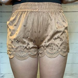 Brown Suede Shorts with Lace Cutouts